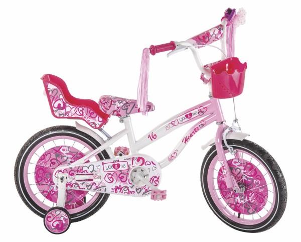 Bicikla za decu sa pomoćnim točkovima Princess Hearts 16''