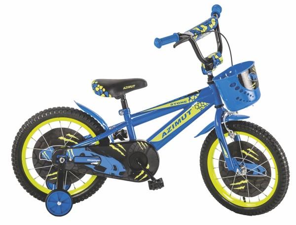 Bicikla za decu sa pomoćnim točkovima Azimut plavo-zeleni 16''