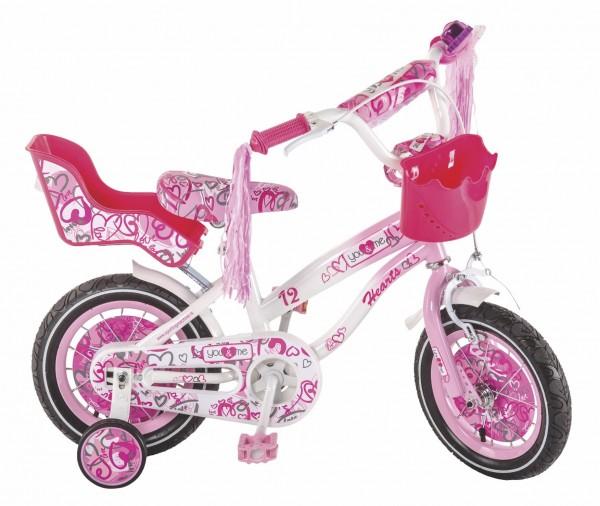 Bicikla za decu sa pomoćnim točkovima Princess Hearts 12''