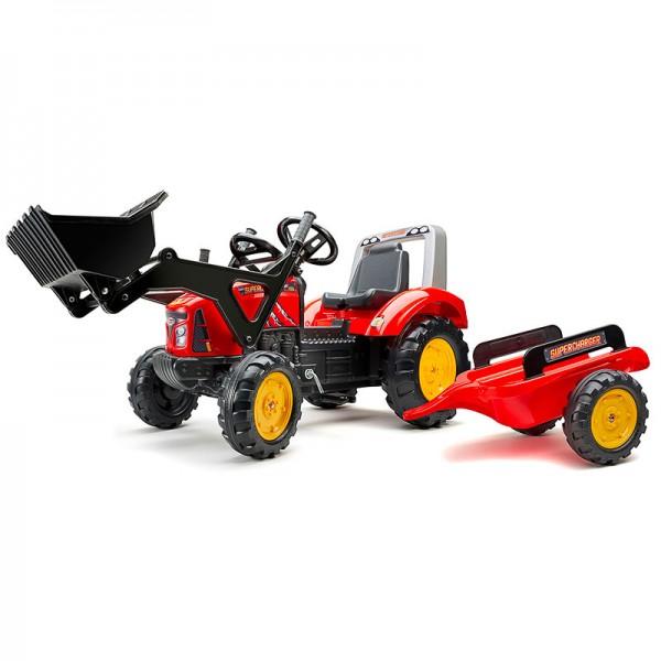 Falk Dečiji Traktor na pedale sa prikolicom Supercharger crveni