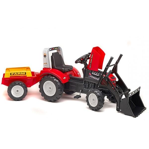 Falk Dečiji Traktor na pedale sa prikolicom Lander Crveni