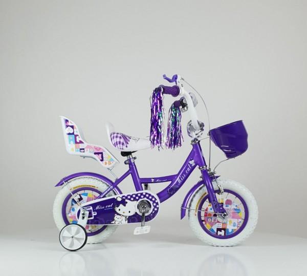 Dečija Bicika sa sedištem za lutku i korpom za igračke ''Miss Cat'' 12'' Model 708 Ljubičasta