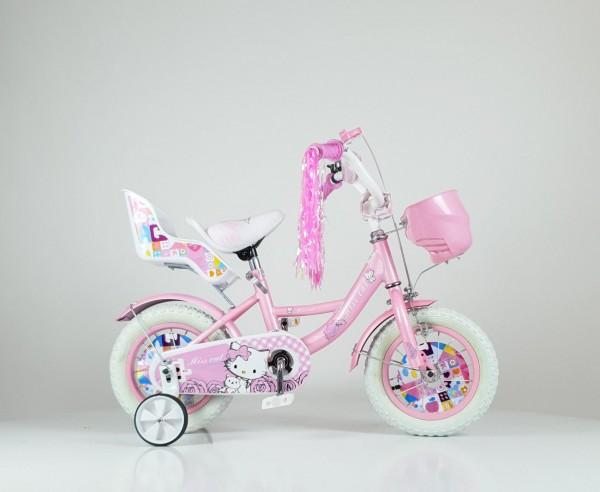 Dečija Bicika sa sedištem za lutku i korpom za igračke ''Miss Cat'' 12'' Model 708 Roze