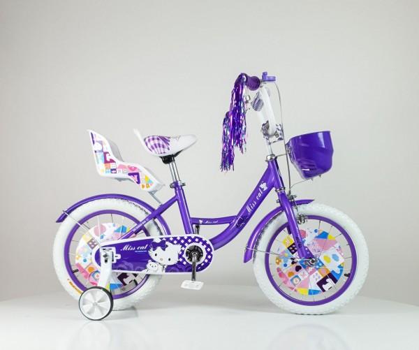 Dečija Bicika sa sedištem za lutku i korpom za igračke ''Miss Cat'' 16'' Model 708 Ljubičasta