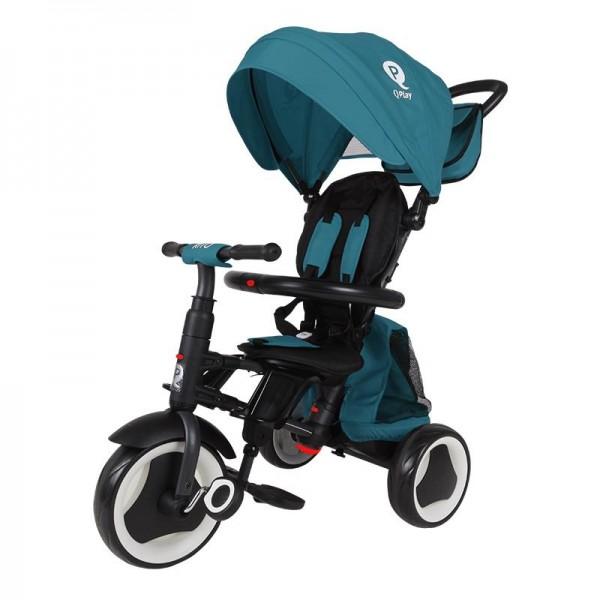 Tricikl-guralica za decu 3u1 QPlay ''Rito Plus'' Zelena-Plava