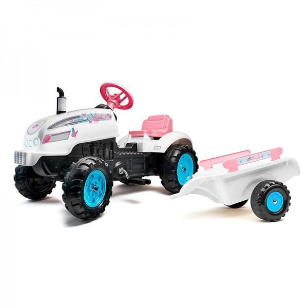 Dečiji traktor sa pedalama Princess Beli sa roze detaljima