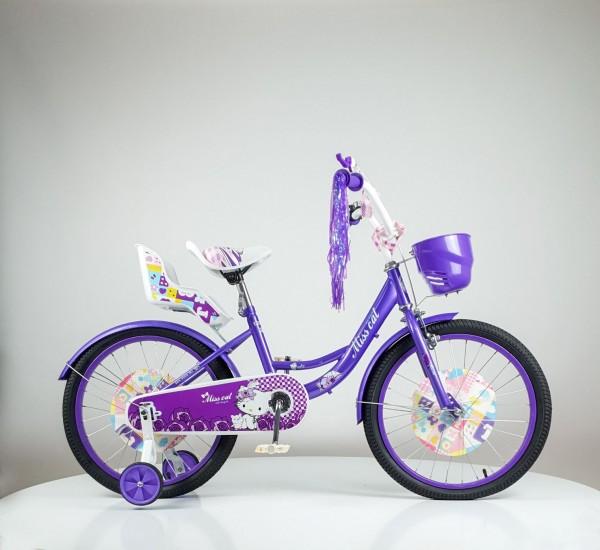 Dečija Bicika sa sedištem za lutku i korpom za igračke ''Miss Cat'' 20'' Model 708 Ljubičasta
