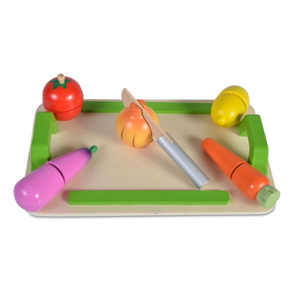 Drvena igračka  Daska za sečenje (5 povrćki+drveni nož)
