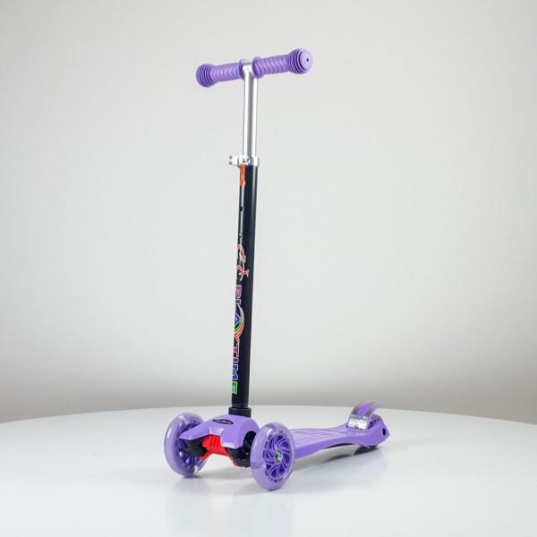 Trotinet jednobojni za decu sa svetlećim točkovima Model 655 Ljubičasti