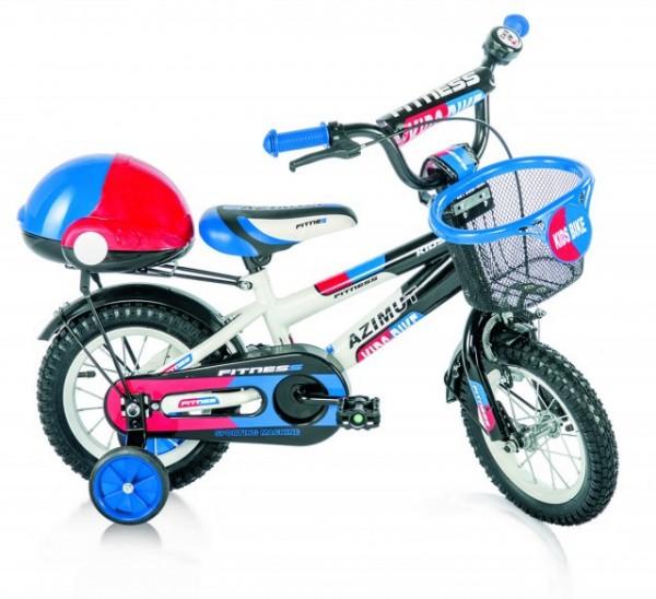 Bicikla za decu sa pomoćnim točkovima FITNESS plavi 12''