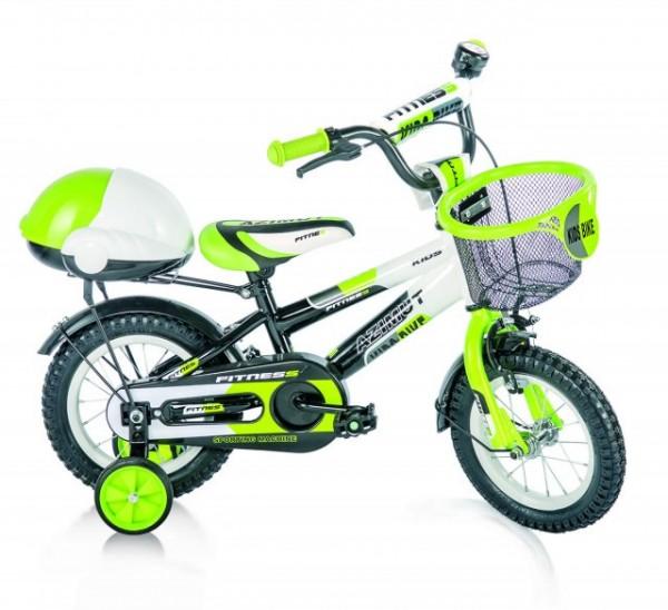 Bicikla za decu sa pomoćnim točkovima FITNESS zeleni 12''