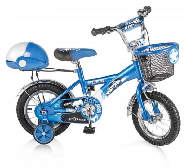 Bicikla za decu sa pomoćnim točkovima VIKING plavi 12''