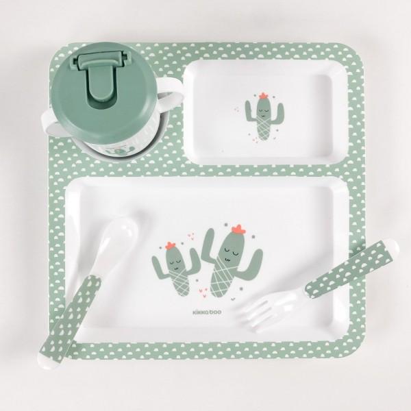 KikkaBoo Set posuđa 4 dela Cactus Mint