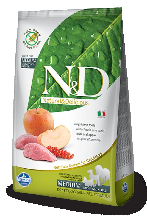 N&D Dog Grain Free Boar-Apple Adult Medium 12kg