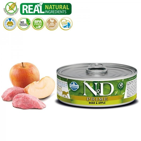 N&D Vlažna hrana konzerva Cat Grain Free Boar&Apple 80g