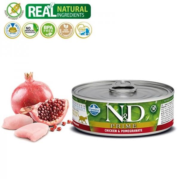 N&D Vlažna hrana konzerva Cat Grain Free Chicken&Pomegranate 80g