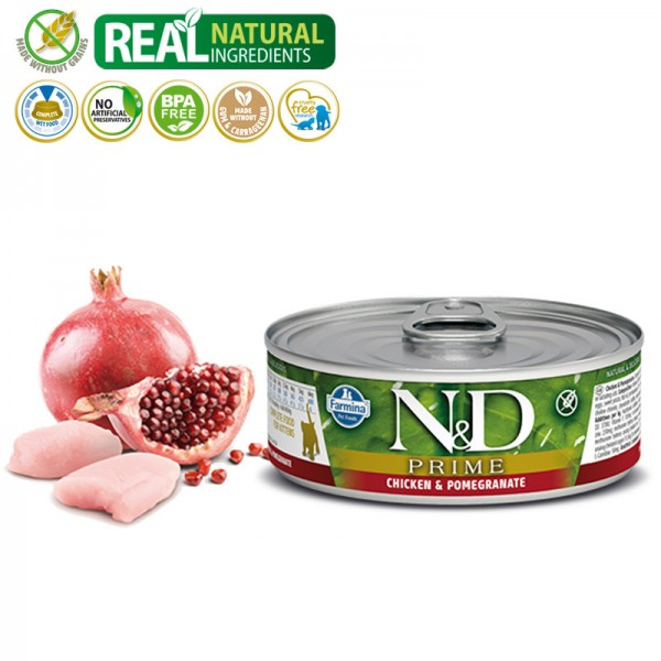 N&D Vlažna hrana konzerva Cat Grain Free Kitten Chicken&Pomegranate 80g