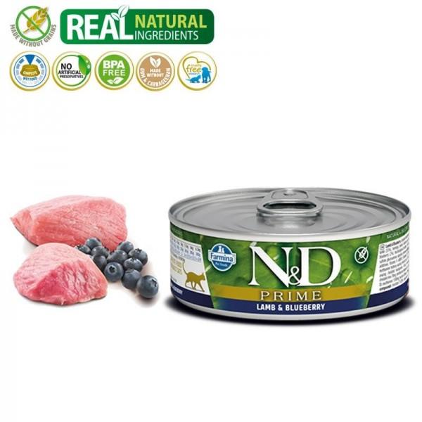 N&D Vlažna hrana konzerva Cat Grain Free Lamb&Blueberry 80g