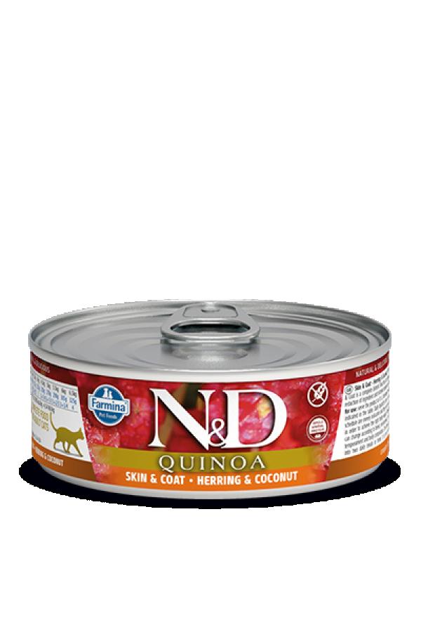N&D Vlažna hrana konzerva Cat Quinoa Herring&Coconut 80g