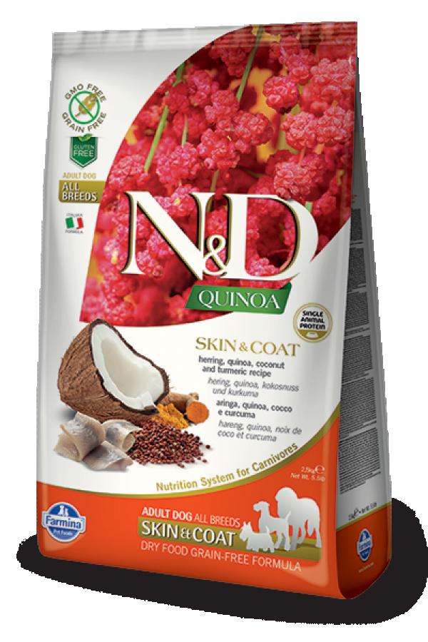 N&D Suva hrana Quinoa Skin&Coat Herring, Coconut-Curcuma 2,5 kg