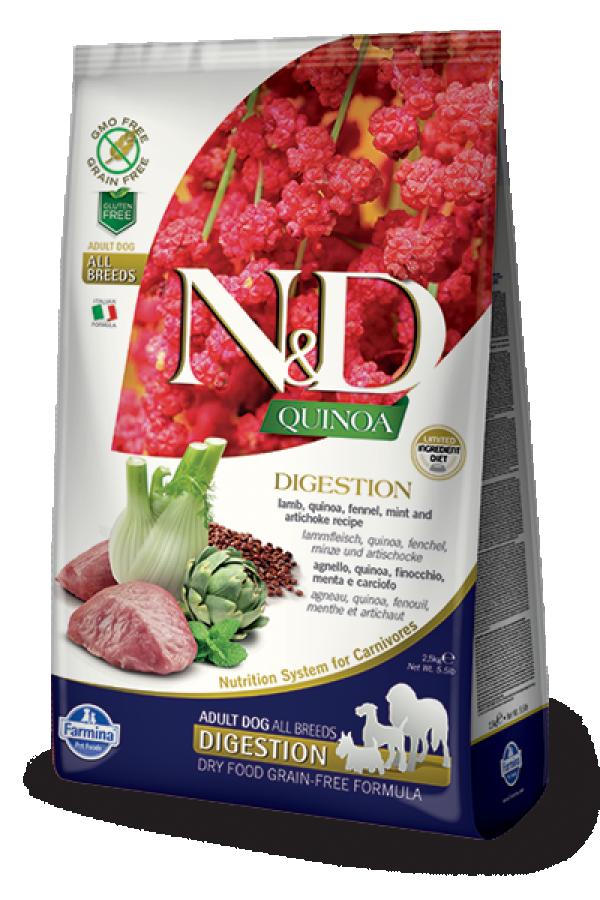 N&D Suva hrana Quinoa Digestion Lamb, Fennel, Mint-Artichoke 2,5 kg