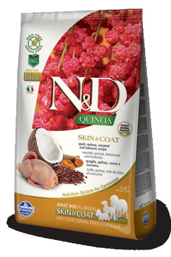 N&D Suva hrana Quinoa Skin&Coat Quail, Coconut-Curcuma 2,5 kg