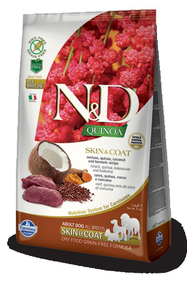 N&D Suva hrana Quinoa Skin&Coat Venison, Coconut-Curcuma 2,5 kg