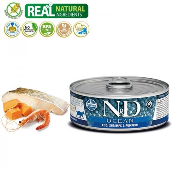 N&D Vlažna hrana konzerva Cat Ocean Codfish&Shrimps&Pumpkin 80g