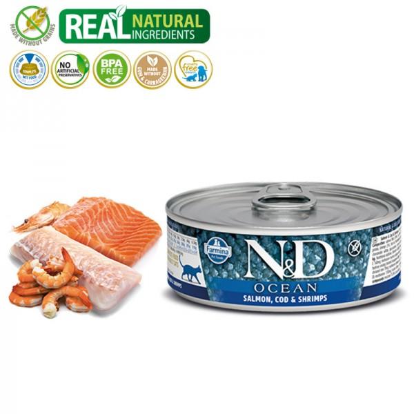 N&D Vlažna hrana u konzervi Cat Ocean Salmon&Codfish&Shrimps 80g