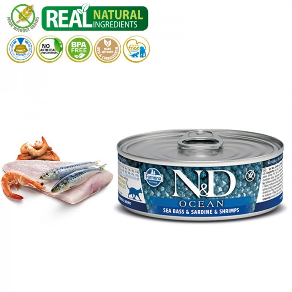 N&D Vlažna hrana konzerva Cat Ocean Sea Bass&Sardine&Shrimps 80g