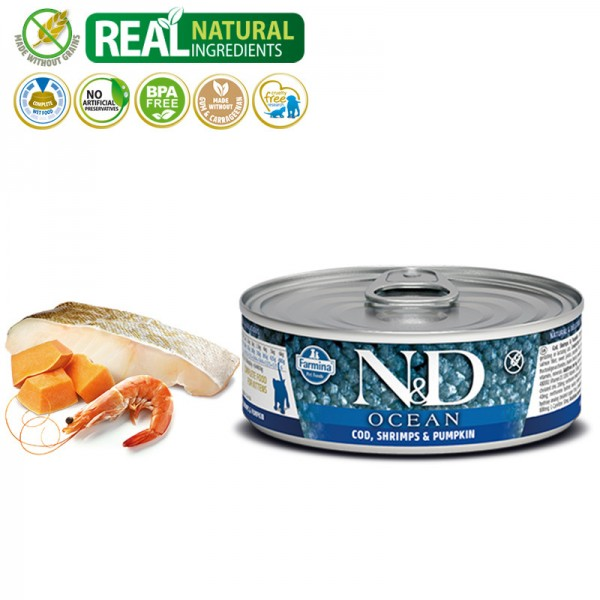 N&D Vlažna hrana konzerva Cat Ocean Kitten Codfish&Shrimps&Pumpkin 80g