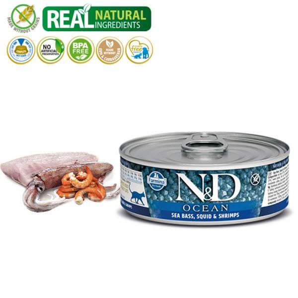 N&D Vlažna hrana konzerva Cat Ocean Sea Bass&Squid Shrimps 80g