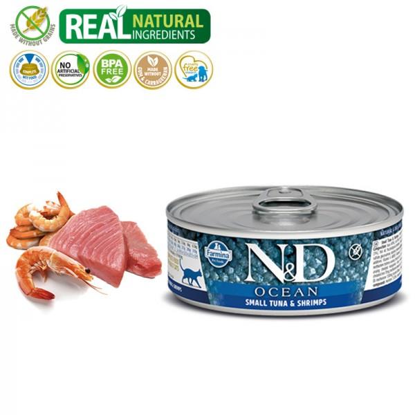 N&D Vlažna hrana konzerva Cat Ocean Sea Small Tuna&Shrimps 80g