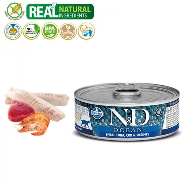 N&D Vlažna hrana konzerva Cat Ocean Small Tuna&Codfish&Shrimps 80g