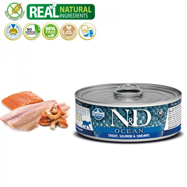 N&D Vlažna hrana konzerva Cat Ocean Trout&Salmon&Shrimps 80g