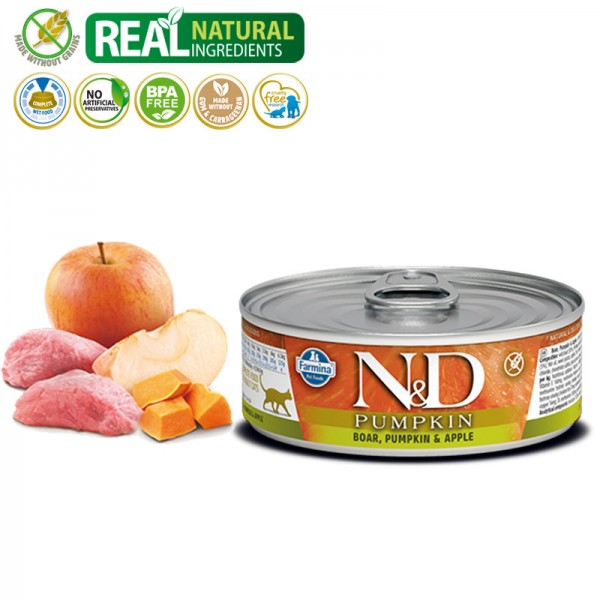 N&D Vlažna hrana konzerva Cat Pumpkin Boar&Pumpkin&Apple 80g