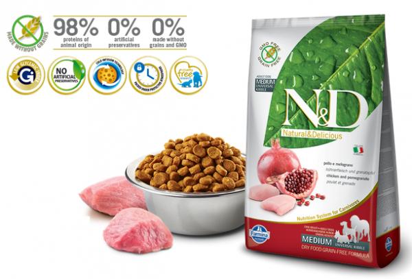 N&D Suva hrana Dog GF Medium Adult Chicken&Pomegranate  800g