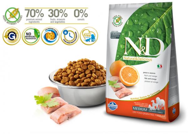N&D Prime Medium Adult Fish&Orange 12kg
