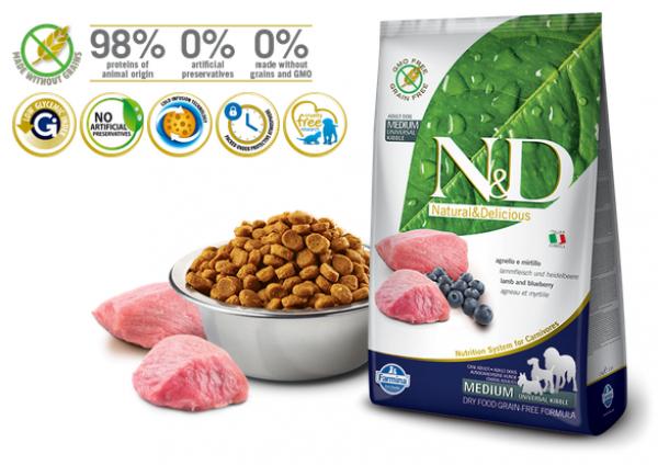 N&D Suva hrana Dog GF Medium Adult Lamb&Blueberr 800g