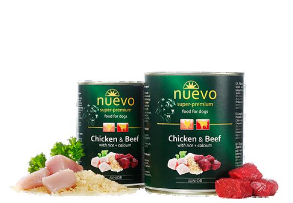 Nuevo Vlažna hrana Junior piletina, govedina, pirinač, kalcijum za pse 400g