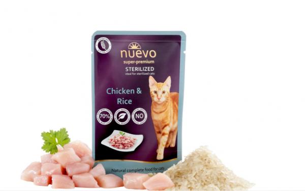Nuevo SOS Vlažna hrana za stelirisanu mačku piletina i pirinač 85g