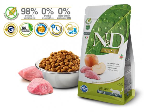 N&D Suva hrana Cat Grain Free Adult Boar&Apple 10kg