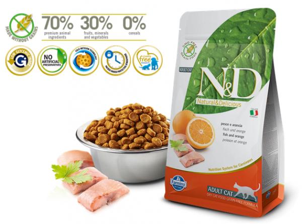 N&D Suva hrana Cat Grain Free Adult Fish&Orange 300g