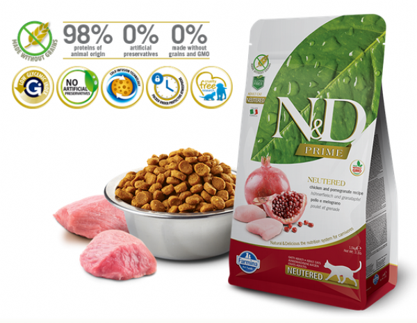 N&D Suva hrana Prime Cat Neutered Chicken&Pomegranate 300g