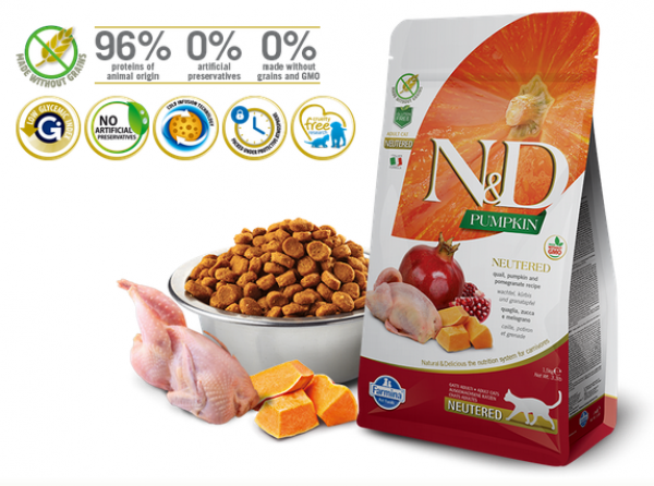 N&D Suva hrana Cat Pumpkin Neutered Quail&Pomegranate 1,5kg