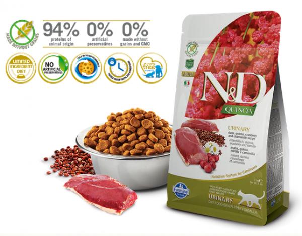 N&D Suva hrana Cat Quinoa Urinary Duck, Cranberry-Chamomile 300g
