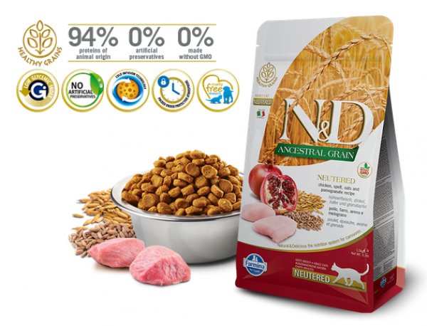 N&D Suva hrana LG Cat Neutered Chicken&Pomegranate 1,5kg