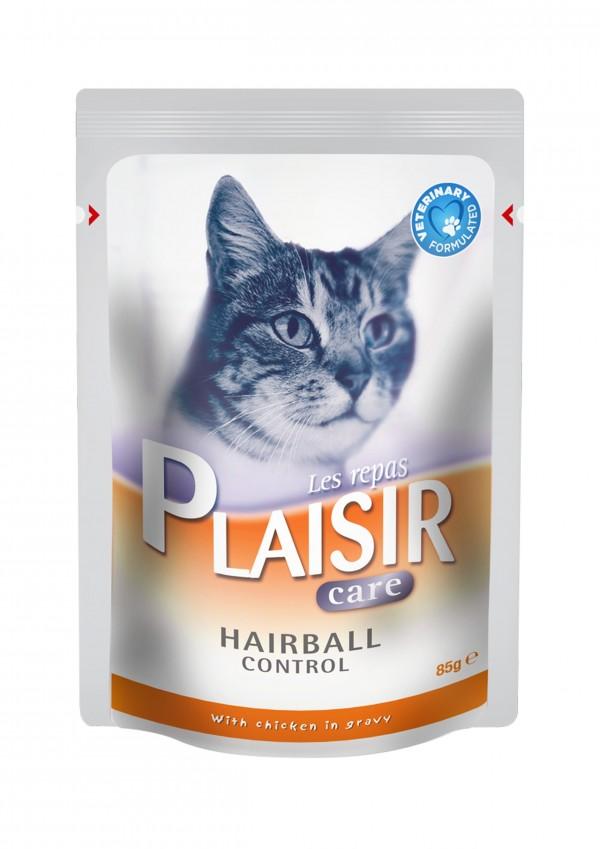 Plaisir Care Vlažna hrana preliv za mačke Hairball 85g