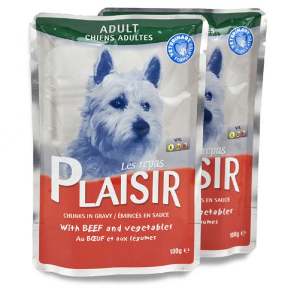 Plaisir Vlažna hrana preliv za pse govedina i povrće 100g