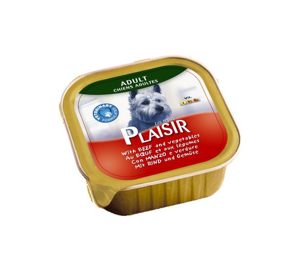 Plaisir pašteta Vlažna hrana za pse govedina i povrće 300g